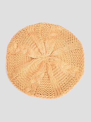 Beret tricote avec torsades jaune moutarde mixte