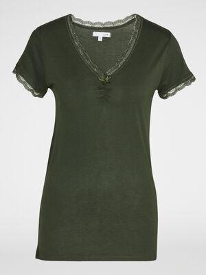 T shirt de pyjama coordonnable vert kaki femme