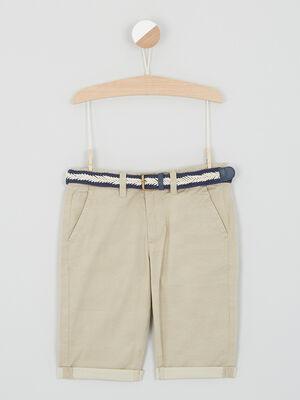 Short uni avec ceinture fantaisie beige garcon