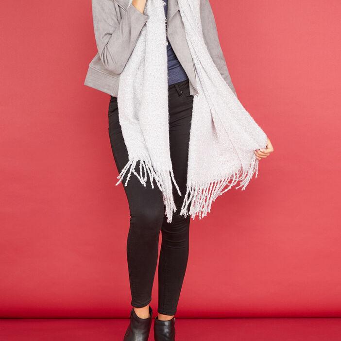 Écharpe duveteuse avec franges mixte gris