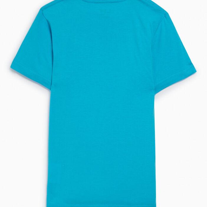 T-shirt coupe droite en coton garçon bleu turquoise