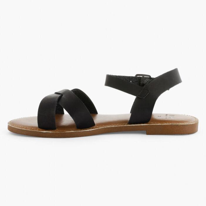Sandales à lanières unies femme noir