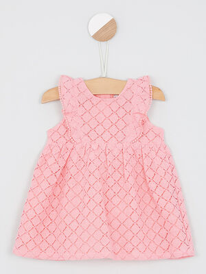 Robe patineuse a motifs ajoures rose clair fille