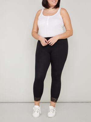 Legging avec dentelle grande taille noir femme