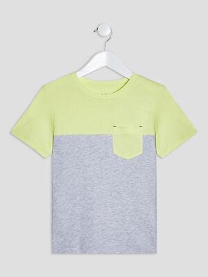 T shirt manches courtes vert anis garcon