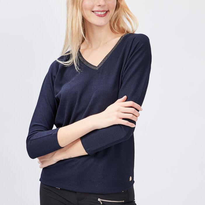 T-shirt manches longues femme bleu marine
