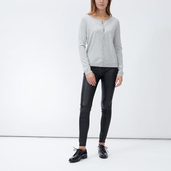 Gilet manches longues boutonné femme gris
