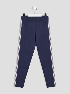 Pantalon jogging avec bandes bleu marine fille