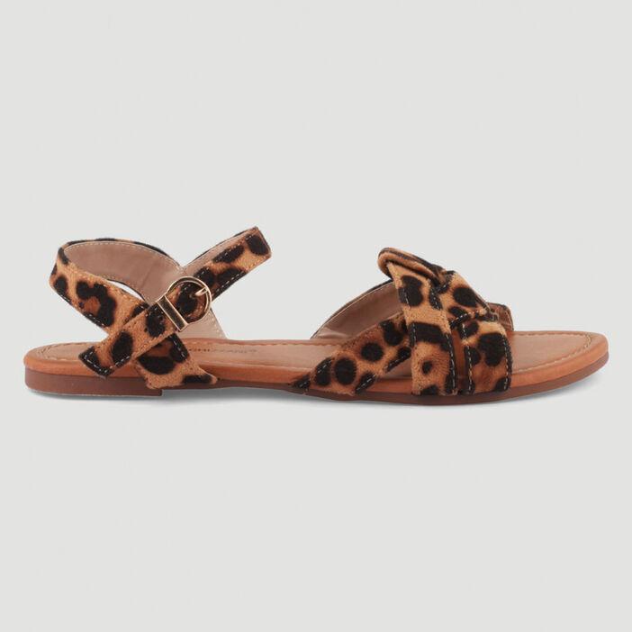 Sandales plates imprimées léopard femme marron