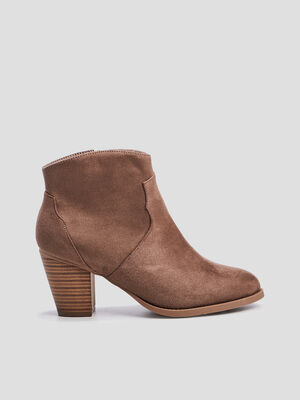 Bottines a talons western taupe femme