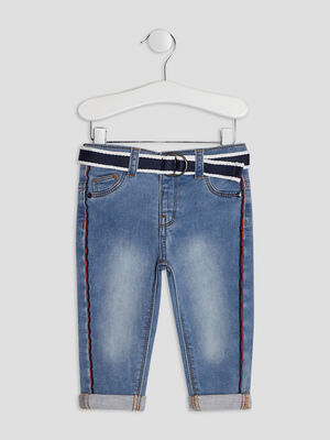Jeans straight ceinture denim double stone bebeg