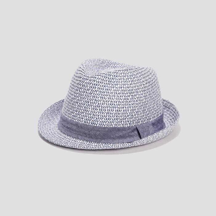 Chapeau tressé garçon bleu