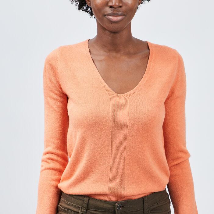 Pull manches longues femme orange