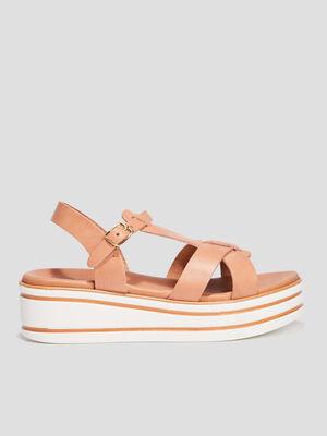 Sandales compensees beige fille