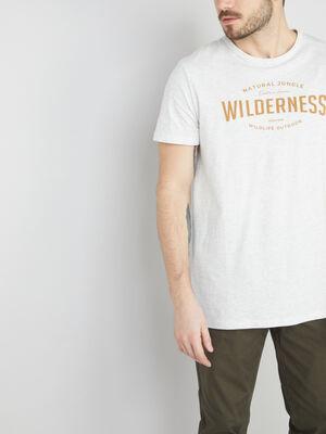 T shirt col rond avec imprime ecru homme
