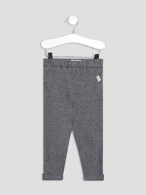 Pantalon droit taille elastiquee gris bebeg