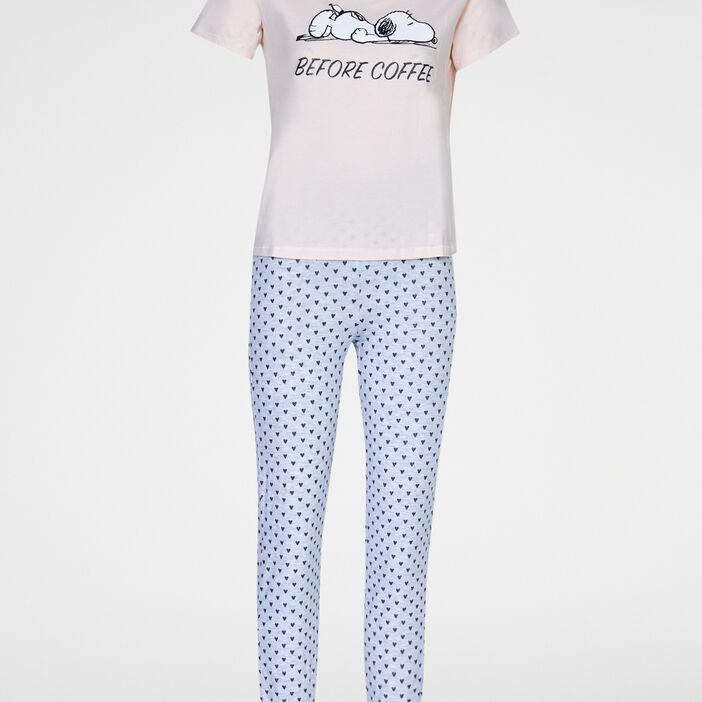 Pyjama Snoopy t-shirt pantalon femme rose