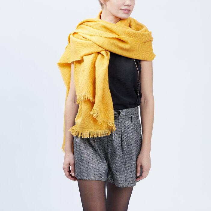 Écharpe mixte jaune moutarde