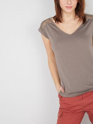 T shirt dentelle dos et epaules vert kaki femme