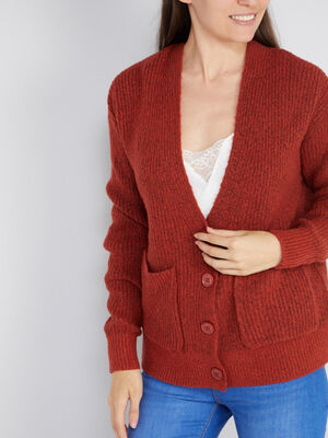 Cardigan mi long poches plaquees orange fonce femme