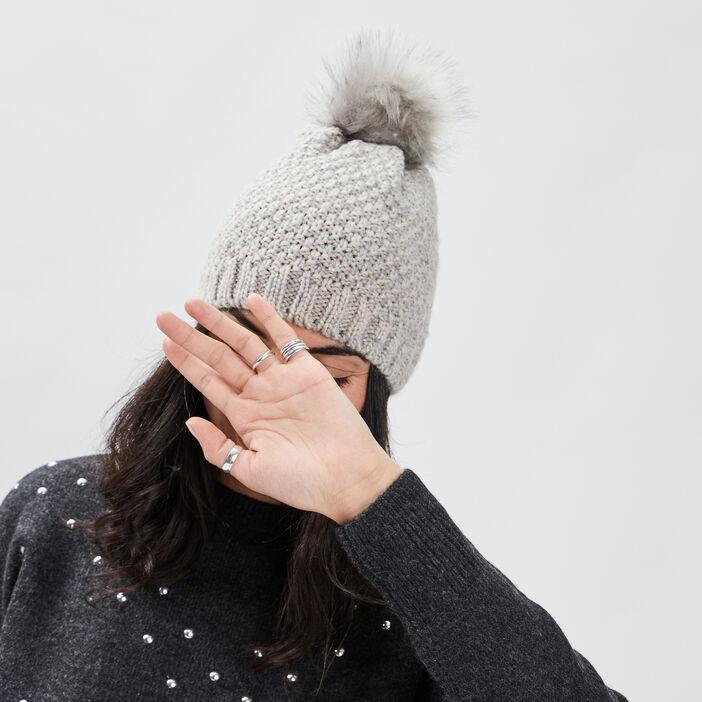 Bonnet à pompon femme gris