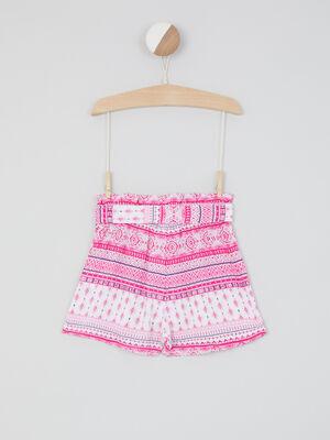 Short taille elastiquee a motifs rose fushia fille