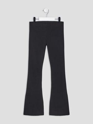 Pantalon bootcut effet cotele noir fille