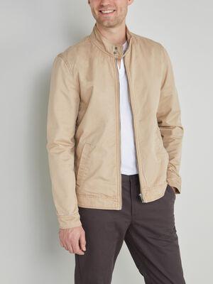 Blouson en coton col montant beige homme
