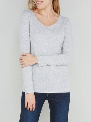 T shirt uni a manches longues gris femme