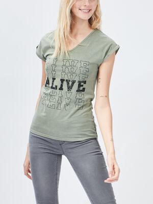 T shirt Liberto vert kaki femme