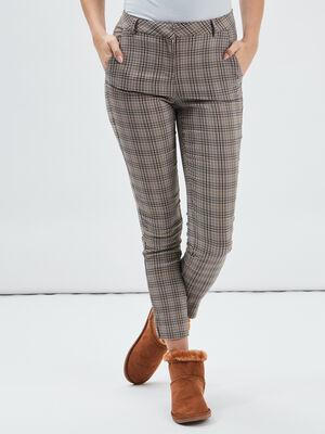 Pantalon slim taille basse beige femme