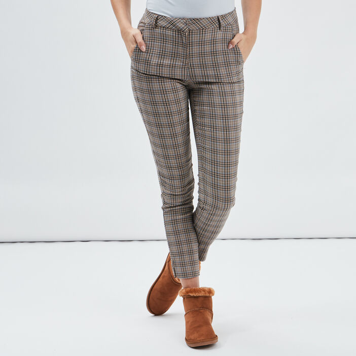 Pantalon slim taille basse femme beige