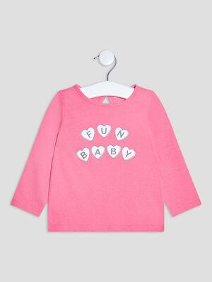 T shirt manches longues rose fushia bebef