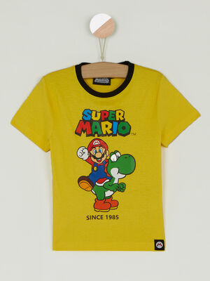 T shirt Mario col rond contrastant jaune garcon