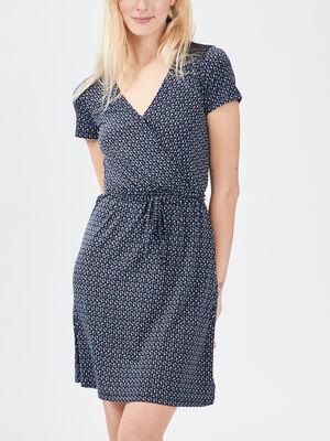 Robe droite ceinturee bleu femme