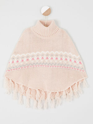 Poncho a col roule rose fille