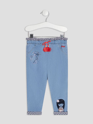 Jeans Slouchy elastique denim double stone bebef