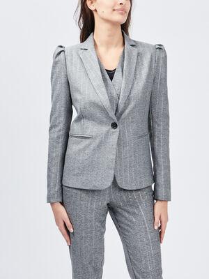 Veste droite boutonnee gris femme