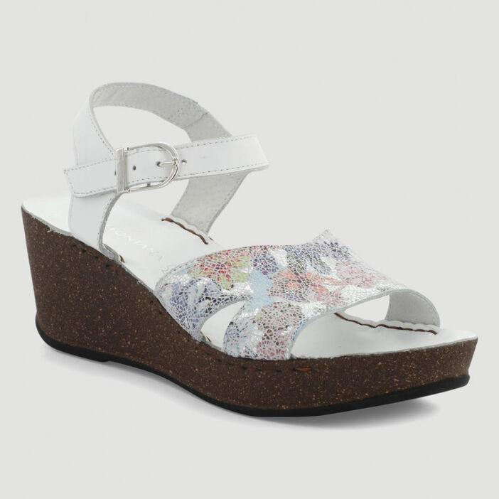 Sandales motif façon mosaïque cuir femme blanc