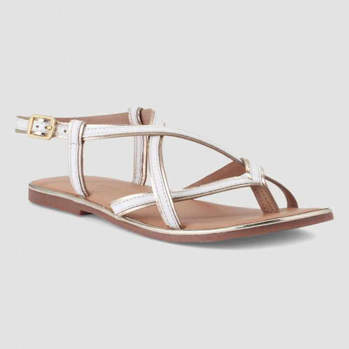 Sandales en cuir avec entre-doigt femme blanc