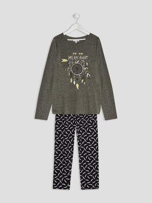 Ensemble pyjama 2 pieces gris fonce fille