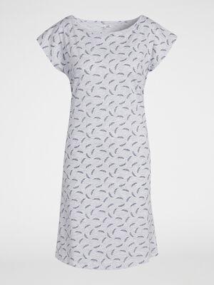 Chemise de nuit coton gris femme