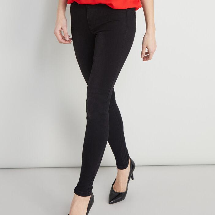 Jean skinny 5 poches uni femme noir