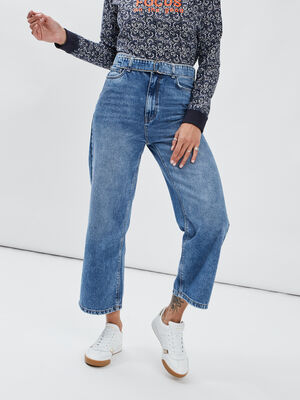 Jeans large taille haute denim stone femme