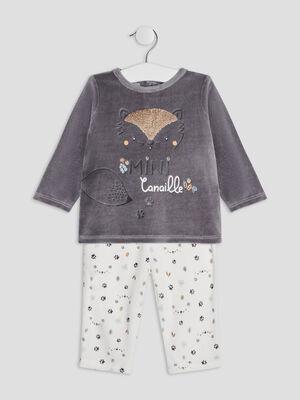 Ensemble pyjama 2 pieces gris fonce mixte