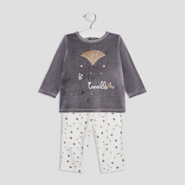 Ensemble pyjama 2 pièces mixte gris foncé