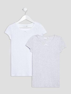 Lot 2 t shirts manches courtes gris fille