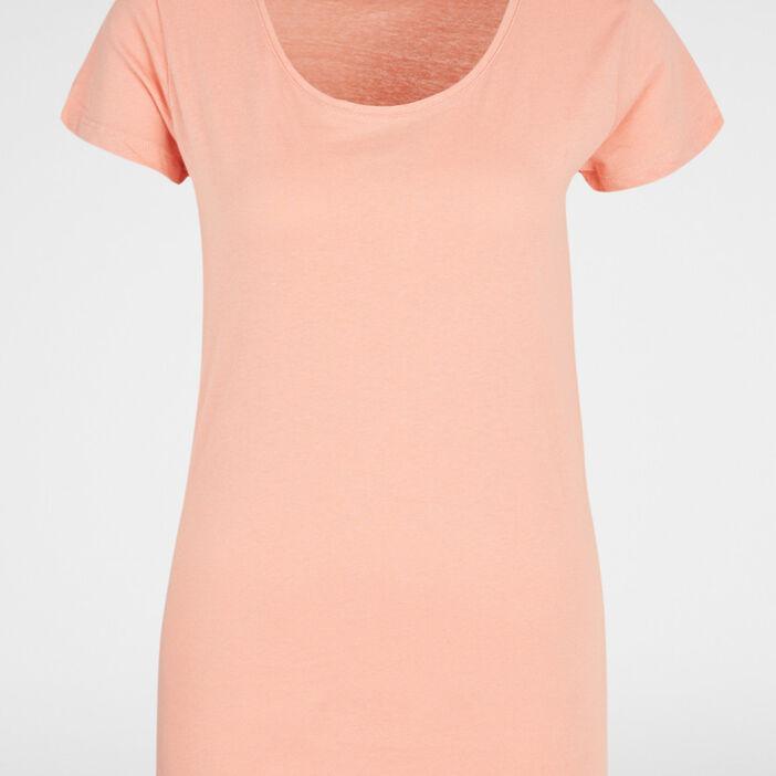 T-shirt uni à col rond femme orange corail