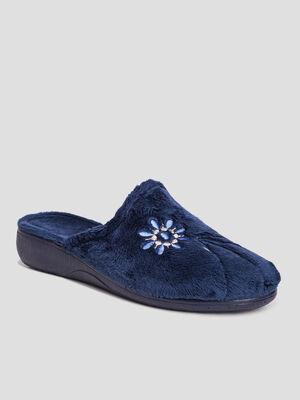 Chaussons mules bleu marine femme