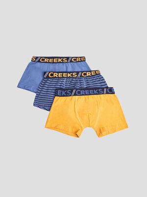 Lot 3 boxers Creeks jaune moutarde garcon